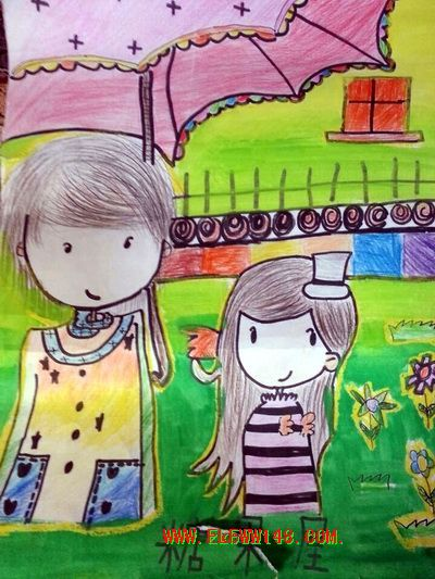 咸阳市玉泉小学一年级学生 七岁 陈祖良蜡笔画选